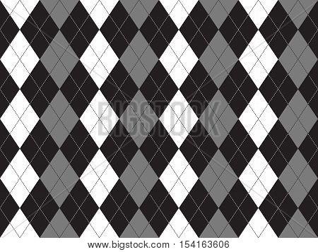 Black white gray argyle textile seamless pattern. Flat design. Vector illustration.