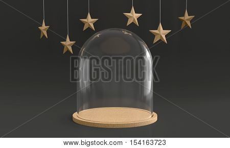 Glass dome with wooden tray on dark background and hanging stars. New year theme. 3D rendering.
