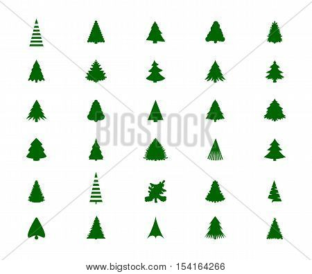 Christmas tree silhouette fur pine green. Vector illustration.