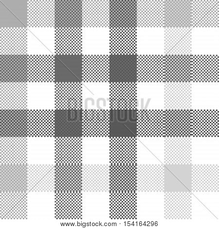 Gray check plaid seamless fabric texture. Vector illustration.