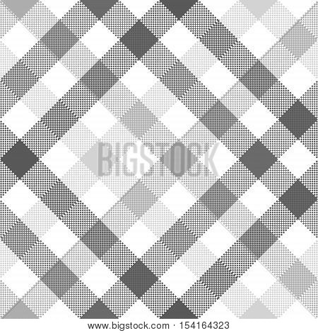 Gray diagonal check seamless fabric texture. Vector illustration.