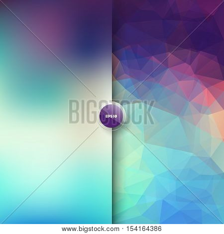 Vector abstract background in two parts - blurred and polygonal, graphic design template