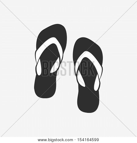 Vector icon - pair of black flip flops on grey background.