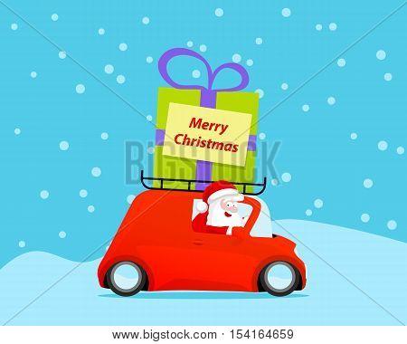Santa drive christmas car with gift. Vector illustration.
