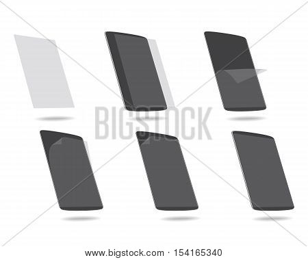 screen protector tablet computer vector illustration glue glass