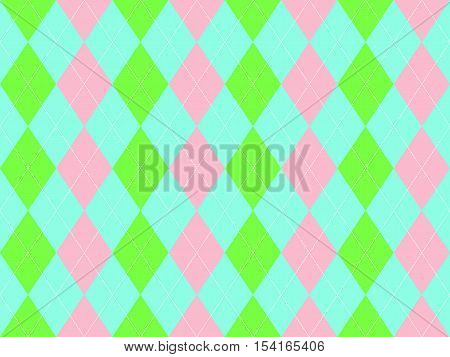 Sweet colors fabric texture argyle seamless pattern. Flat design. Vector illustration.