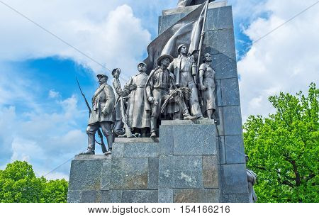 KHARKOV UKRAINE - MAY 20 2016: The workers and farmers on Taras Shevchenko's Monument the famous revolutionary poet writer an ideological fighter  on May 20 in Kharkov.