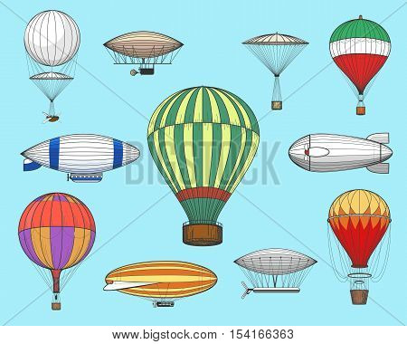 Vintage flights airships. Vector retro dirigibles and hot air balloons isolated on blue background
