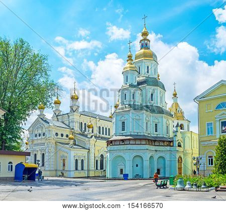 The Holy Shroud Cathedral and the Church of Holy Virgin Lady of Ozeriana in Holy Virgin Monastery Kharkov Ukraine.