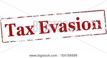 Rubber stamp with text tax evasion inside vector illustration