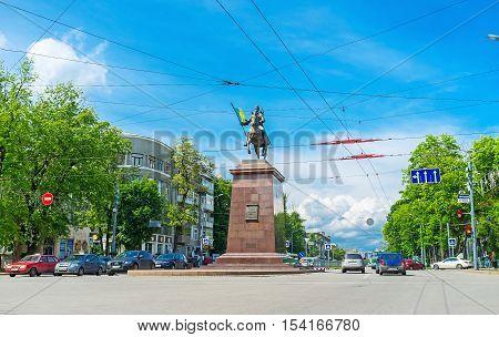 KHARKOV UKRAINE - MAY 20 2016: The monument to the city founder - the Cossack Kharko located in Nauki Prospekt on May 20 in Kharkov.