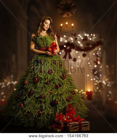 Woman Christmas Tree Dress Fashion Model in Xmas Gown Costume Fairy Magic Night