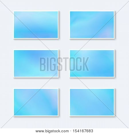 Blanks for Business Cards / Greeting Cards / Postcards. Set of Pastel Azure Baners. Kit of Templates for Business Cards Sky Color.