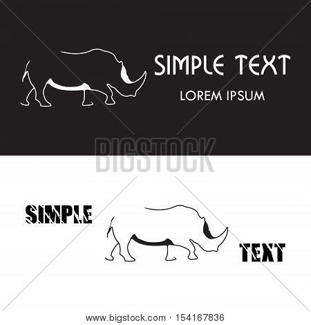 Rhino logo. Silhouette vector symbol of rhino for design company's logo, tattoo, visit card, etc. Monochrome sign of animal.