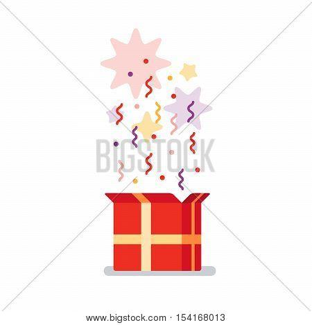 Flat design vector illustration. Celebration event, surprising gift