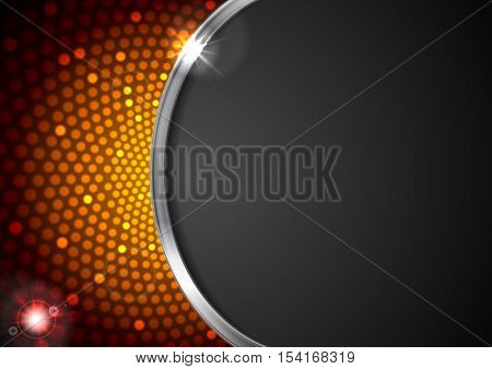Abstract shiny flicker design with silver waves and black background. Glowing art vector illustration