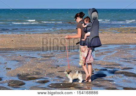 Mother Carry Her Baby And Walks Her Poppy Dog