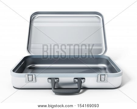 Open metal briefcase isolated on white background. 3D illustration.