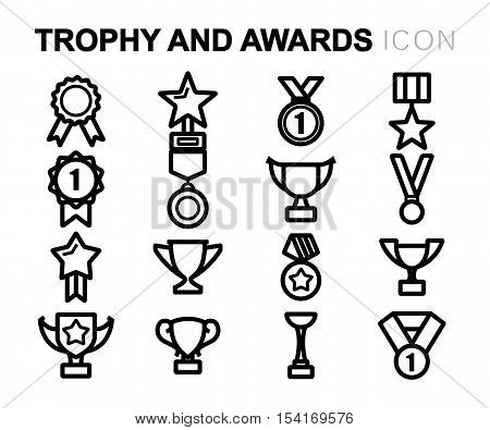 Vector black line trophy and awards icons set on white background
