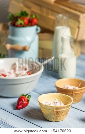Preparation Of Strawberry Ice Cream In A Wafer