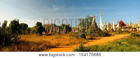 Panorama of Ruined buddhist stupas in Inn Dein Myanmar