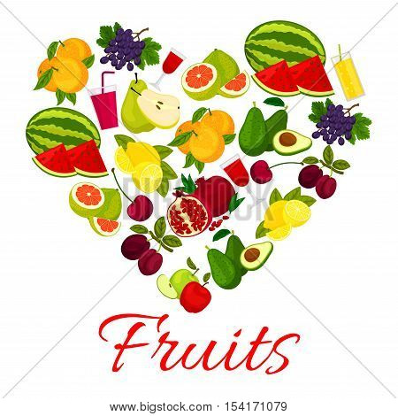 Fruit heart icon with fresh fruits and berries icons. Vector elements of fresh farm juicy fruits and fruit juice of watermelon, grape, plum, avocado, apple, orange, pomegranate, pear, lemon, pomelo, cherry