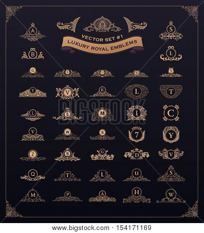 Luxury royal logos set. Crest, crown, emblem, heraldic monogram. Vintage royal flourishes design elements. Calligraphic floral sign. Gold letters in frames. Vector antique flourishes emblems