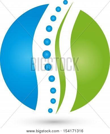 Circle and spine, chiropractor and orthopedic logo