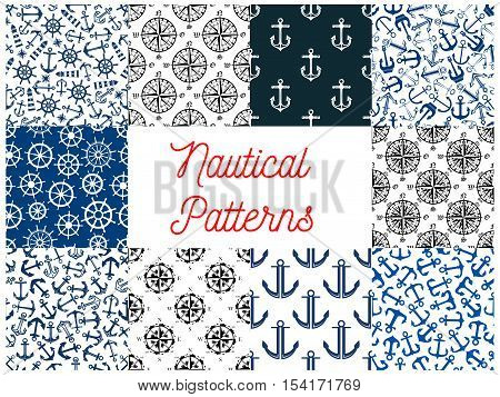Nautical navy seamless patterns. Set of vector pattern of anchor on chain, vessel ship steering wheel, compass arrows, lighthouse beacon for greeting card, decoration, textile, tile design