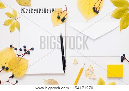 Blank notepad and envelope in autumn leaves frame. White sheet of paper with free space for text with pen and pencil, surrounded by yellow fall foliage