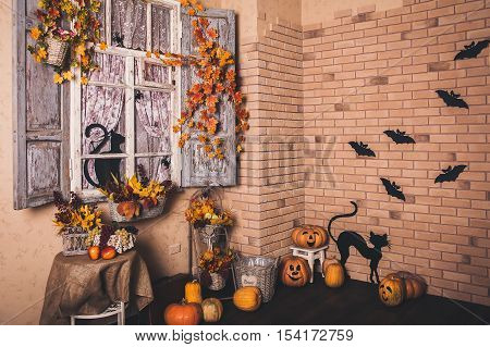 Halloween Decorated Yard Of Old House.