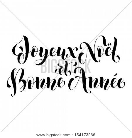 Joyeux Noel et Bonne Annee French vector greeting card print. Ink Merry Christmas and Happy New Year in French. Congratulation letter board poster with white background