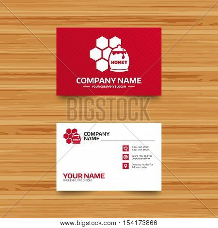 Business card template. Honey in pot and honeycomb sign icon. Honey cells symbol. Sweet natural food. Phone, globe and pointer icons. Visiting card design. Vector