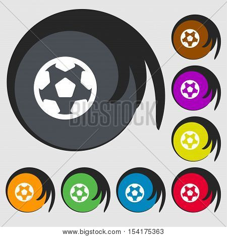 Football, Soccerball Icon Sign. Symbols On Eight Colored Buttons. Vector