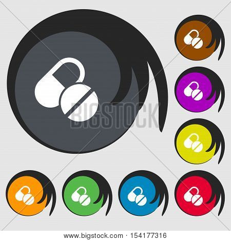 Medical Pill Icon Sign. Symbols On Eight Colored Buttons. Vector