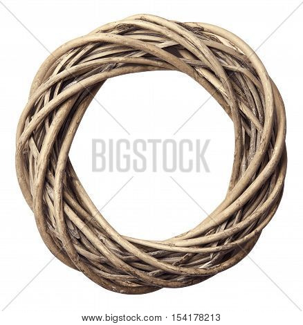 Wreath Twisted Wood Decoration Isolated over White Christmas Wooden Decorative Circle