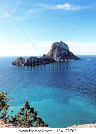 Es Vedra, famous place and magic rock on Ibiza Island.