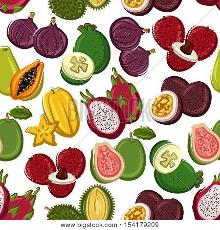 Fruits pattern. Vector seamless pattern of papaya, mango, carambola, feijoa, passion fruit maracuja, dragon fruit, lychee, durian, guava, fig, mangosteen. Whole and half cut sliced exotic and tropical fruits