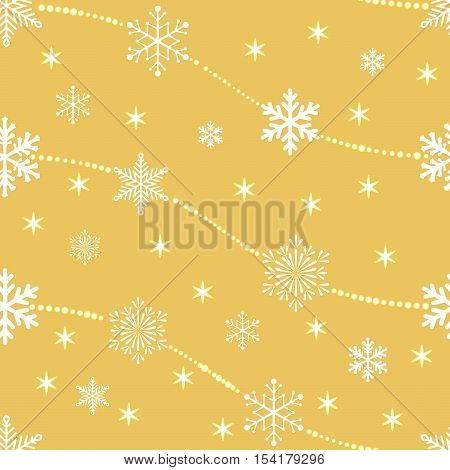 The Christmas background, seamless pattern for wrapping paper. Gold snowflakes on white background. Wrap, ribbon, wrapping paper for your gift Merry Christmas and Happy New Year.