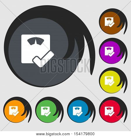 Bathroom Scales Icon Sign. Symbols On Eight Colored Buttons. Vector