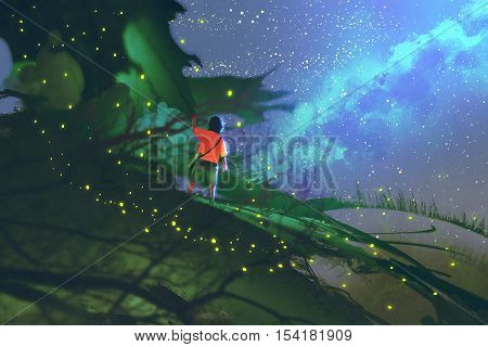 little boy standing on giant leaves looking at a night sky, illustration painting