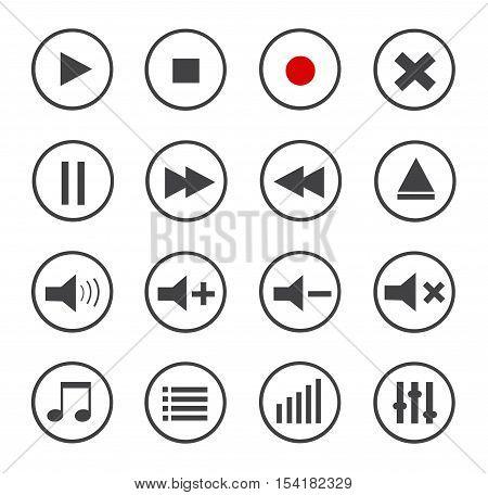 Media Player Icons Set on white background