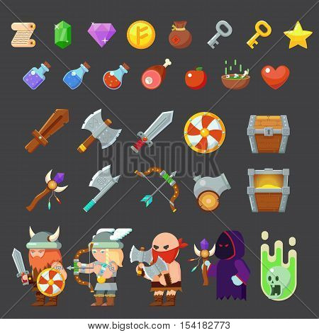 Game icons medieval viking. Inventory heroes enemies weapon Vector illustration