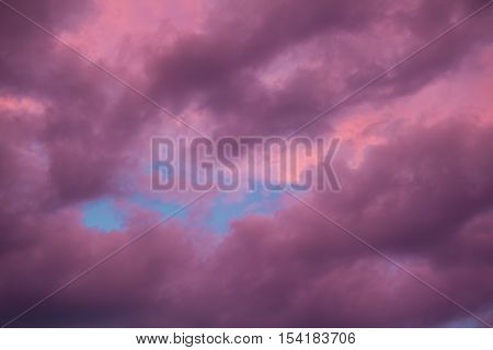 Colorful Skyscape With Purple Clouds At Sunset Twilight