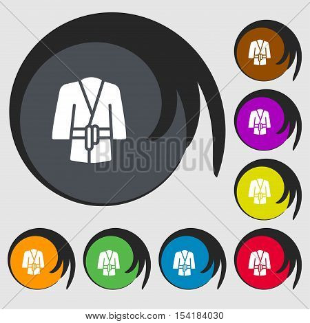 Bathrobe Icon Sign. Symbols On Eight Colored Buttons. Vector