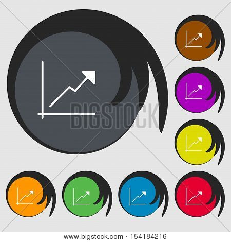 Chart Icon Sign. Symbols On Eight Colored Buttons. Vector