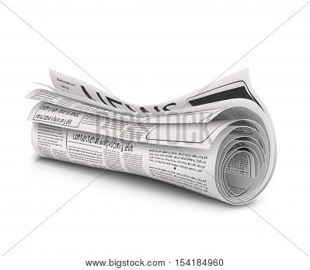 Rolled newspaper with the headline News  isolated on a white background