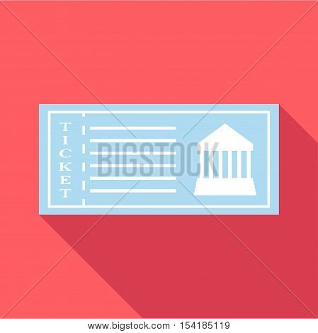 Ticket to museum icon. Flat illustration of ticket to museum vector icon for web