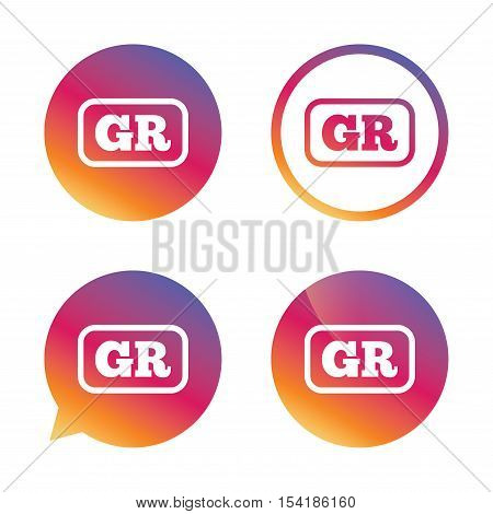 Greek language sign icon. GR Greece translation symbol with frame. Gradient buttons with flat icon. Speech bubble sign. Vector