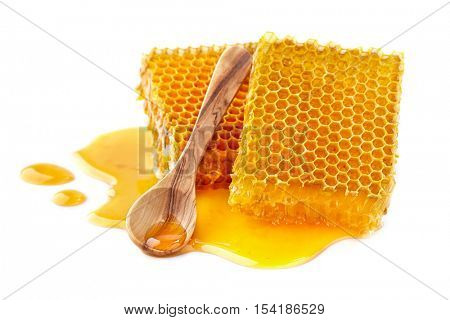 Honeycombs on a white background